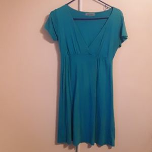 VELVET BLUE MIDI VNECK DRESS SMALL